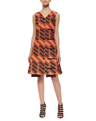 Ribbon Jacquard Welt-Pocket Dress, Tangier/Multi