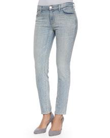 Ellis Cropped Faded Denim Jeans, Blue