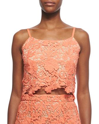 Alanis Floral-Crochet Crop Top