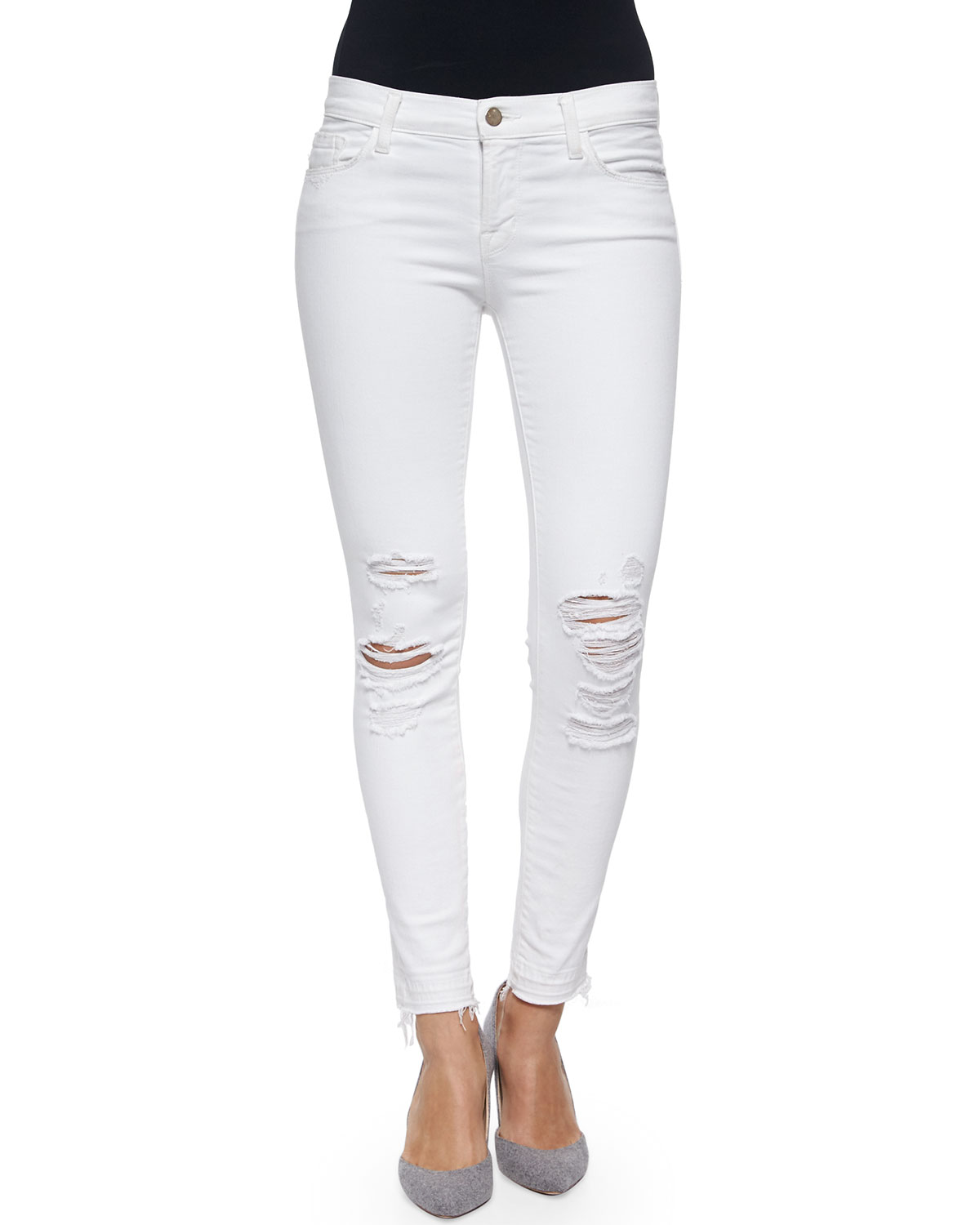 J Brand Jeans Low-Rise Skinny Crop Jeans, Demented, Size: 32, White