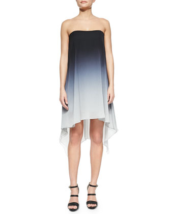 Ombre Cocktail Dress with Asymmetric Hem