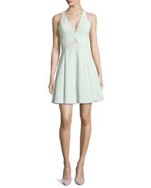 Nina Cutout Swingy Crepe Dress
