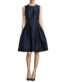 Polka-Dot Jacquard Fit-and-Flare Dress, Midnight Black