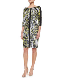 3/4-Sleeve Leopard-Print Ruched Dress