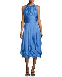 Sleeveless Ruched-Bodice Halter Dress