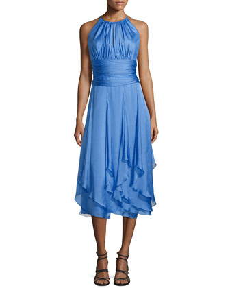 Sleeveless Ruched-Bodice Dress