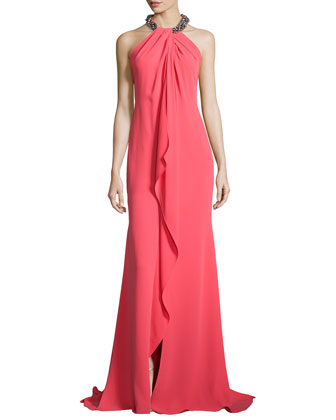 Beaded-Neck Draped-Front Toga Gown, Coral