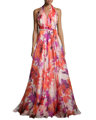 Silk Floral-Print Gown, Tomato