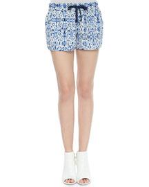 Layana Drawstring Printed Silk Shorts