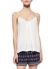 Nahlah Pleated Silk Sleeveless Top