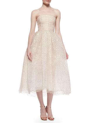 Strapless Iridescent Lace Tea-Length Dress, Blush