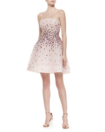 Strapless Sequined Floral Structured Dress, Petal Multi