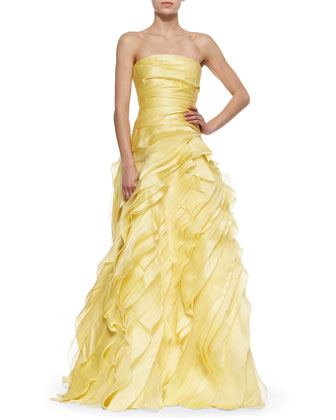Strapless Tiered Ball Gown, Yellow