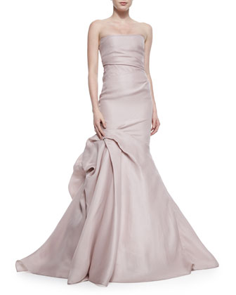 Strapless Ruched Godet Gown, Putty