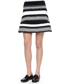 Judy Striped A-Line Knit Skirt
