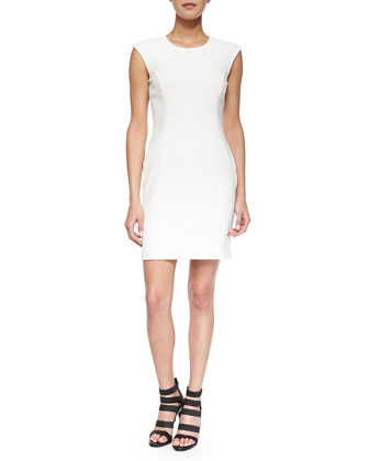 Cap-Sleeve Modern Sheath Dress