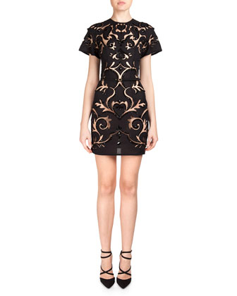 Beaded Scroll-Cutout Dress