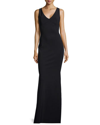 Cross-Back Ponte Gown, Black