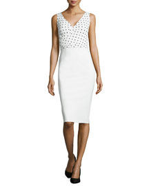 Polka-Dot Print Dress, White/Black