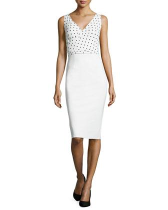 Polka-Dot Print Dress, White/Black