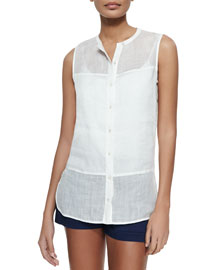 Sleeveless Button-Front Voile Blouse