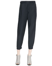 Cropped Tapered Twill Pants
