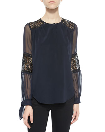 Silk Lace-Inset Blouse