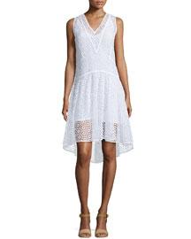 Sleeveless V-Neck Tile-Lace Dress, Sea Salt