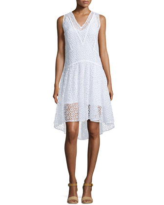 Sleeveless V-Neck Tile-Lace Dress, Sea Salt