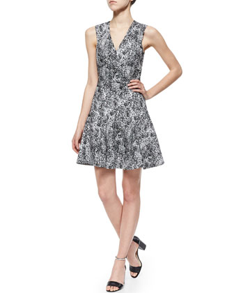 V-Neck Animal-Jacquard Dress