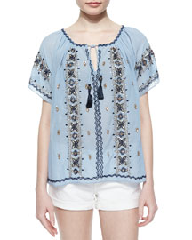 Embroidered Tie-Neck Voile Top