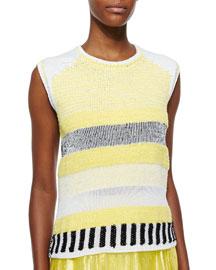 Grid-Pattern Sleeveless Knit Top