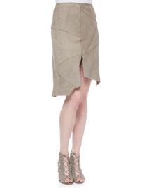 Nicola Suede Skirt W/ Cutout Hem