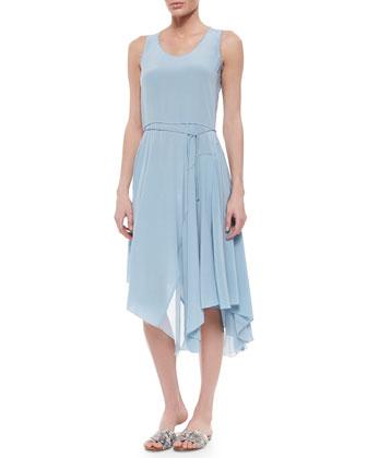 Tammie Sleeveless Silk Handkerchief Dress