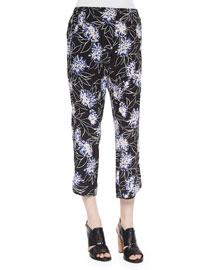 Floral-Print Cropped Silk Pants