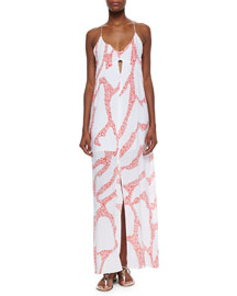 Nora Coral-Print Coverup Maxi Dress