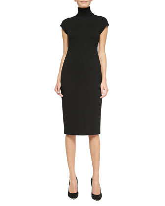 Nemor Cap-Sleeve Turtleneck Dress