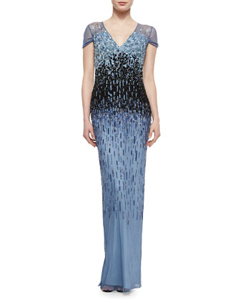 Ombre Graduated Sequined Gown, Light Blue/ Navy Blue