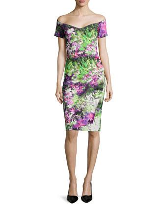 Claretta Floral-Print Off-the-Shoulder Ruched Dress