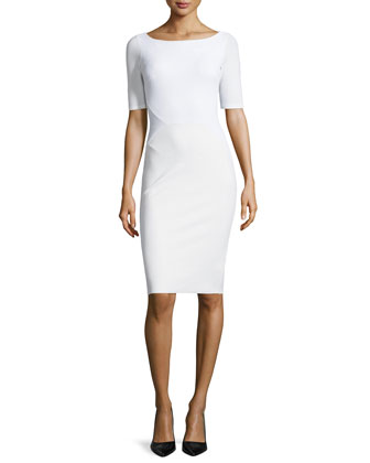 Pearl Pique Short-Sleeve Banded Sheath Dress