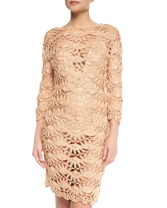 See-Through Metallic Crochet Coverup Dress