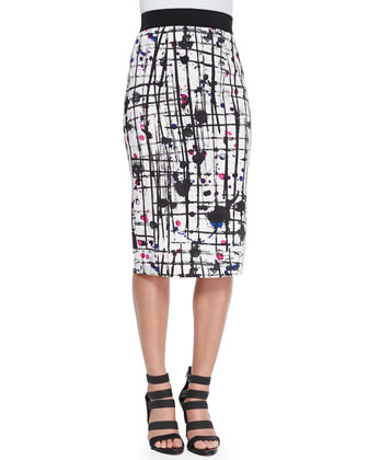 Splatter-Print Midi Pencil Skirt
