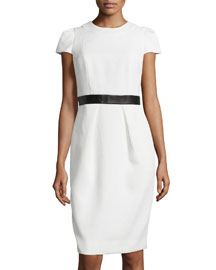 Cap-Sleeve Leather-Waist Dress, White