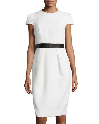 Cap-Sleeve Leather-Waist Dress, White
