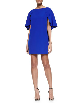 Draped-Back Stretch-Cady Cocktail Dress, Cobalt