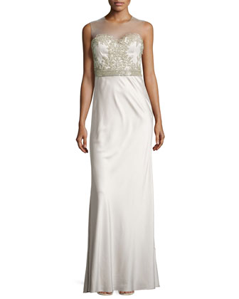 Beaded Illusion-Neck Gown, Opal Gray