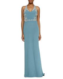 Sleeveless V-Neck Halter Beaded Gown