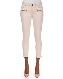 Jane Zip Cropped Jeans, True Blush