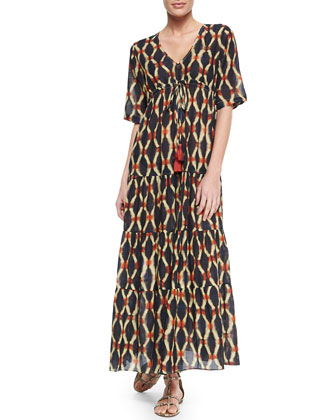 Kalila Printed Tiered Drawstring Dress