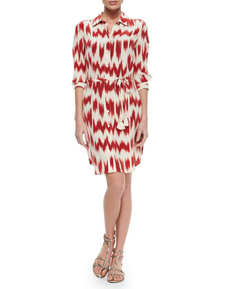Taline Printed Tie-Waist Shirtdress